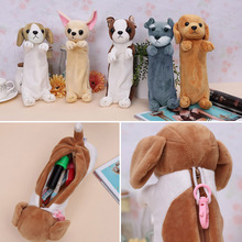New Kawaii Cartoon Plush Dog Pencil Case Cute Animal Pen Bag For Kids School Supplies Stationery HG99