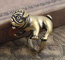 Kinitial Bulldog Pug Copper Dog Ring Animal Lover Punk Unusual Both Mens Womens Gift Hippie Chic Ring Vintage Animal Dog Rings