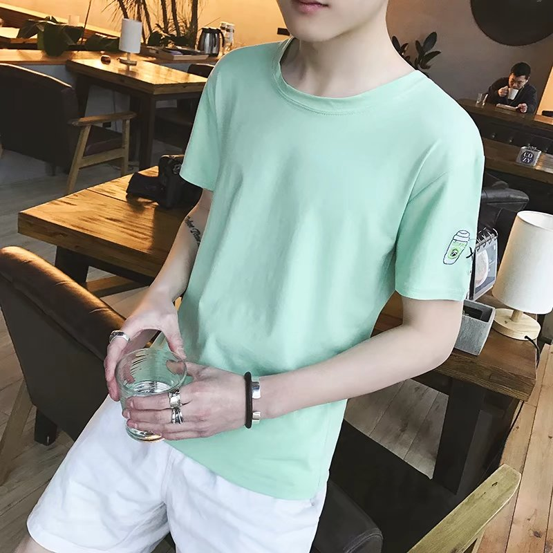 Summer short-sleeved t-shirt men's round neck half-sleeved shirt trend Korean version of the self-cultivation bottoming shirt st