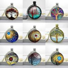 New Weeping Willow Eclipse Tree Necklace Sunset Swirls Tree Jewelry Altered Art photo  Tree of life glass cabochon necklace HZ1