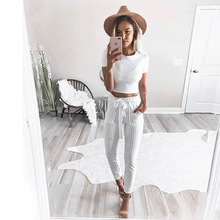 2017 New Striped OL chiffon high waist harem pants Women stringyselvedge summer style casual pants female  trousers