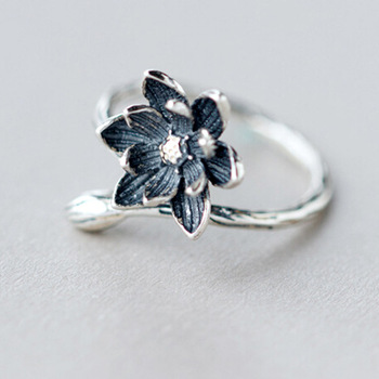 1Pcs New Design Engagement Finger Jewelry Ring,925 Sterling Silver Lotus Flower Ring Style Charm For Women Ladys Girls Gift