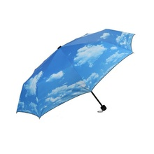 50pcs Creative Blue Sky Umbrella Rain Women 3-Fold Sunblock UV Block Protection Travel Compact Lightweight Umbrella ZA1169