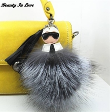 Fluffy Genuine Raccoon Fur Fox Fur Pompom Monster Bag Bugs Charm Keychain Plush Key Ring Leather Tassel Pom poms Key chain F386(China)