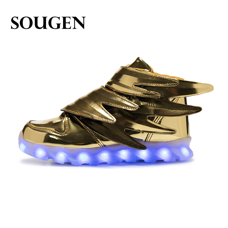 Fashion Designer Girls Shoes Wing Breathable Kids Boys Toddler Light Up Shoes Tenis Led Infantil New Children Glowing Sneakers(China (Mainland))