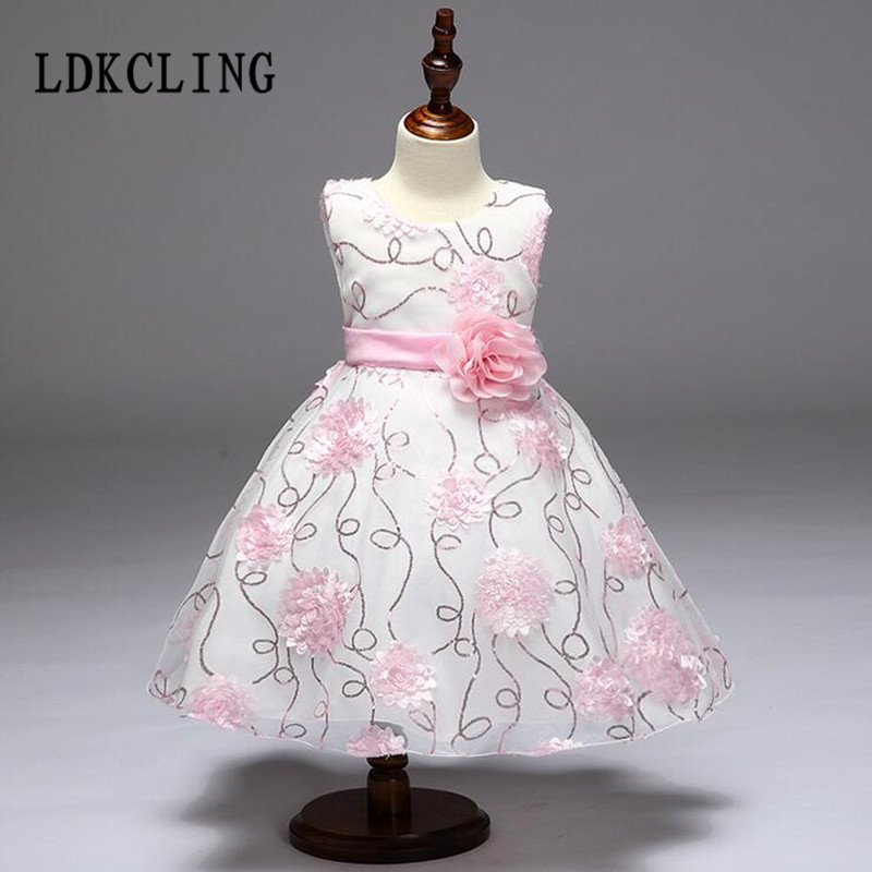 Kids Infant Girl Flower Petals Dress Children Bridesmaid Toddler Elegant Dress Pageant Vestido Infantil Tulle Formal Party Dress<br>