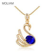 MOLIAM Hot Fashion Statement Necklaces Silver/Gold-Color Crystal Swan Element Pendant Necklace Collares Largo MLP021,MLP022(China)