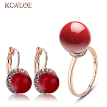KCALOE Wedding Accessories Bridal Jewerly Sets For Women Rose Gold Color Fashion Crystal Red Artificial Coral Jewellery Set