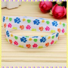 5/8'' Free shipping Fold Elastic FOE dog paw printed headband headwear hair band diy decoration wholesale OEM B1207