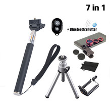 KRY 7in1 Phone Holder Tripod Shutter 3in1 Lens Fish Eye Bluetooth Shutter Phone Monopod for iPhone 5s 5 6 6s Plus 7 Plus stand