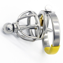 Buy Stainless steel chastity device urethral plug metal cock rings penis bondage bird lock male chastity cage sex toys men