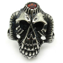 Mens Boys Red Crystal Cow Ring,Huge Teeth & Oxhorn Rings 316L Stainless Steel Vintage Gothic Skull Ring