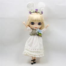 Clothes For 1/6 Blyth White Long Dress With Headwear & Waistcoat Pastoral Style