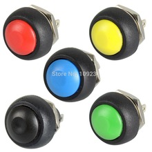 A13 5PCS/LOT  Black/Red/Green/Yellow/Blue 12mm Waterproof Momentary Push button Switch VE059 P