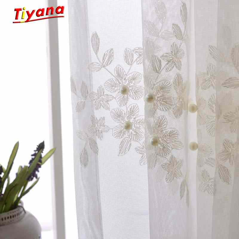 European Embroidered Pearl Lace Tulle Curtains Living Room Bedroom Balcony 2017 NEW Luxury Fancy Curtain Valance Flower WP226 30