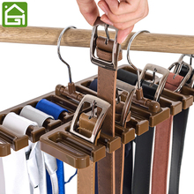 Sturdy Plastic Tie Belt Scarf Rack Organizer Closet Wardrobe Space Saver Belt Hanger with Metal Hook(China)