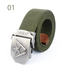 2017 Hot Sale Men's Military Red Star Thicker Outdoor Buckle Tactical Casual Fashion Canvas Knitted Belt 28 Styles 110cm Long