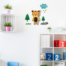 Funlife European Style Cartoon Tiger Pattern DIY Clock Silent Quartz Clock Movement Wall Decals for Kids Rooms SWC004(China)
