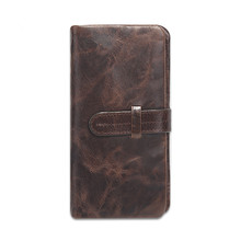 Nesitu Vintage Chocolate Color Real Skin Genuine Leather Long Size Man Purse Cowhide Men wallets #M520