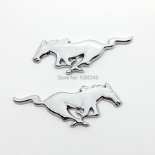 Car-Styling Silver Running Horse Sticker Chrome Metal Emblem Badge For Ford Focus 2 3 Mustang Accessories stickers on cars