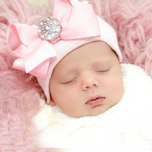 Cute Bow Girls Hat Cotton Pink Baby Girl Caps Striped Tire Cap With Rhinestones Newborn Girl Beanies Spring Autumn Accessories(China)