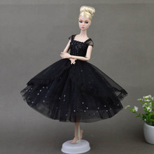 Doll Dresses Elegant Lady Black Little Dress Evening Dress Clothes for Barbie Dolls For 1/6 BJD Doll Gift Doll Accessories(China)
