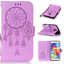 Flower Pattern PU Leather Wallet Flip Book Cover Case for Samsung Galaxy S2 S3 S4 S5 SIV SIII Phone Case With Carry Strap 100PCS