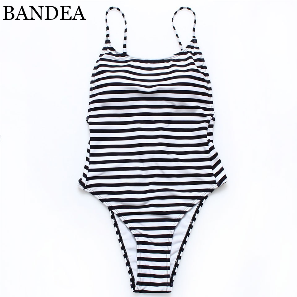 BANDEA Retro Vintage one set Swimsuit Stripe blackless Bathing Suits Beachwear  Plus Size Swimwear Women sexy Brazilian Monokini<br><br>Aliexpress