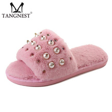 Buy Tangnest NEW Winter Women's Slippers Sweet Peals Home Slides Shoes Female Warm Plush Floor Slippers Casual Flat Shoes XWT1005 for $9.99 in AliExpress store