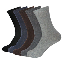 5 Pair Rabbit Wool Quality New knitted Men's Socks Spring Autumn Winter Warm Thick Solid Pattern Business Casual Soft Sock Meias(China)