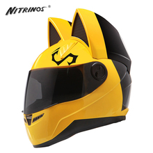 NITRINOS Motorcycle Helmet Women Cat Helmet Full Face Casque Moto Casco Cat Horns Moto Helmet Motorbike Helmet Capacete, Yellow(China)