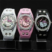 New Hello Kitty Watches Fashion Ladies Quart Watch Vintage Kids Cartoon Wristwatches Analog King Girl Brand Quartz women(China)