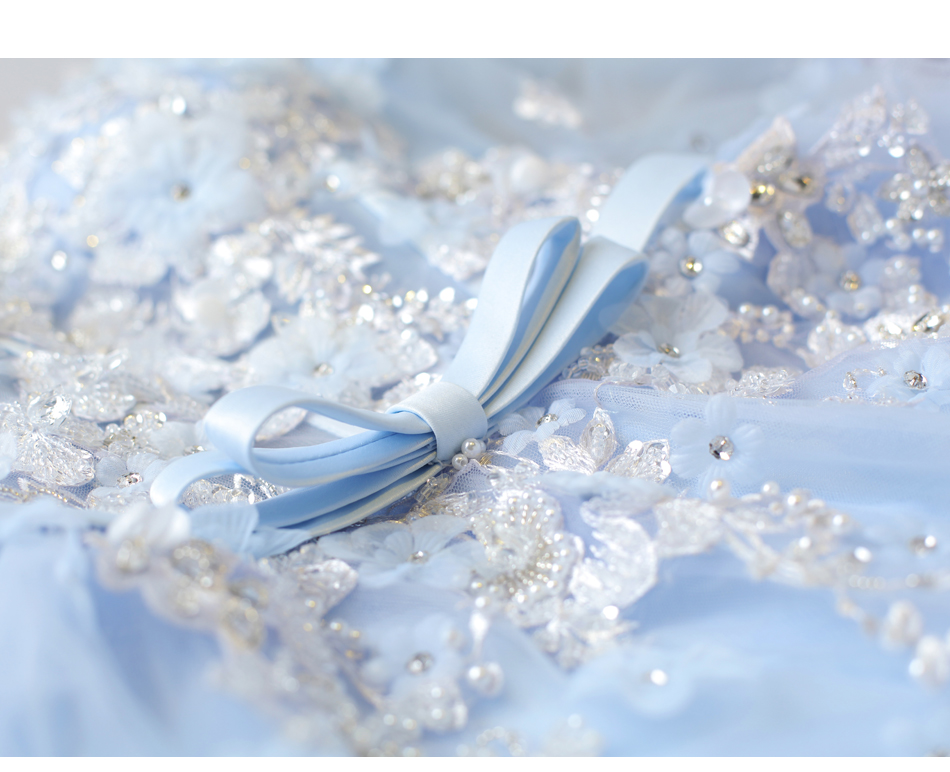 Angel Wedding Dress Marriage Bride Bridal Gown Vestido De Noiva Fairy, blue, handmade petals 2017 257 23