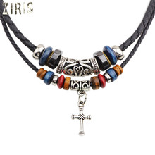 ZIRIS Europe and the United States foreign trade religious necklace Double root beaded cross Leather cord woven women necklace