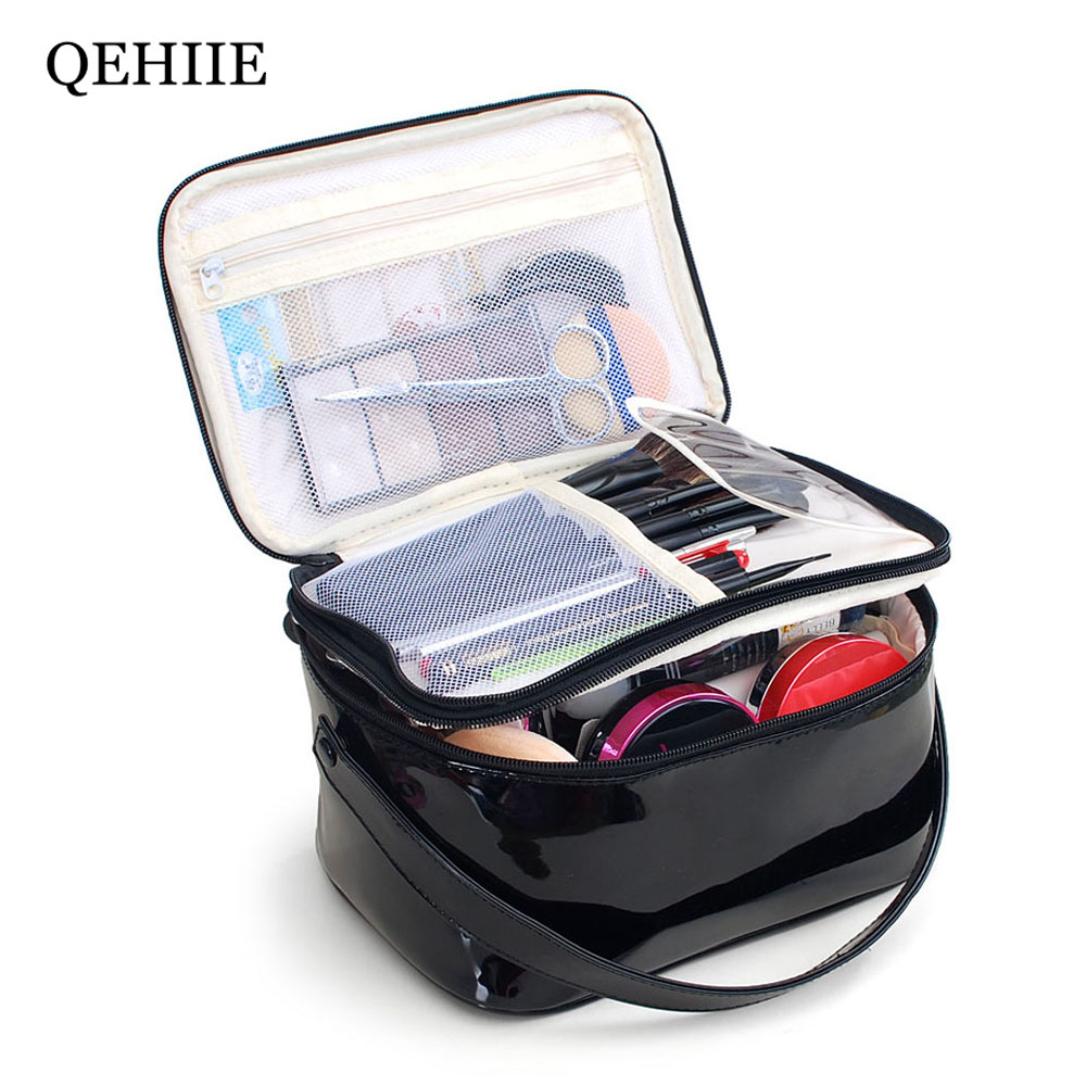 Ms. Waterproof PU Cosmetic Bag Double-layer Cosmetics Bags Travel Organizer Case Beautician Patent leather Print Makeup Bag