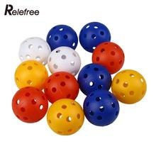 Relefree 50Pcs Plastic Airflow Hollow Golf Balls Pack Golf Practice Training Aid Sports Accessories(China)