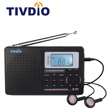 Tivdio V-111 Full Band Radio FM Stereo/MW/SW DSP World Band Receiver with Timing Alarm Clock Portable Radio Black F9201(China)