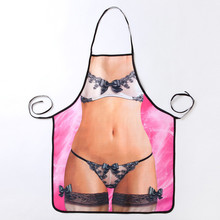 New Style Bikini Kitchen Apron Personality Originality Cartoon Funny Aprons For Woman With Free Shipping Avent Cooking Pinafore(China)