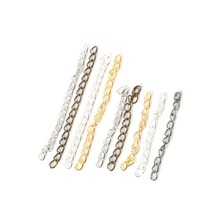 Iron 100Pcs/Lot Extended Extension Chain 4*50mm Tail Extender Chains For DIY Jewelry Findings Necklace Bracelet