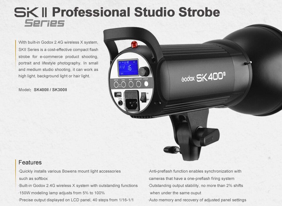 Godox SK300II Studio Flash With 2.4G Wireless X system+Bowen mount standard cover Gift (15)