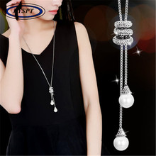 BYSPT Simulated Pearl Crystal Long Sweater Chain Necklace Vintage Accessary Crystal Collares Mujer Statement Necklace(China)