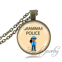 Buy Grammar Police Picture Necklace Glass Dome Pendant Antique Bronze Chain Choker Necklace Gift English Teacher Fashion Jewerly for $2.53 in AliExpress store