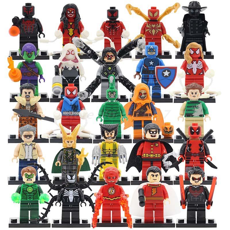 POGO 40pcs/lot Scorpion Captain America Stan Lee Mini Dolls Building Block Sets Spider-Man Superhero DIY Toys For Kids Gifts<br>
