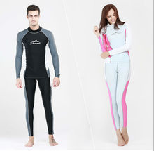 Mens Women Rashguard with Long Sleeve For Adult Lycra UPF50+ Surf Shirt Swimming Suit Mens Long Swim Pants