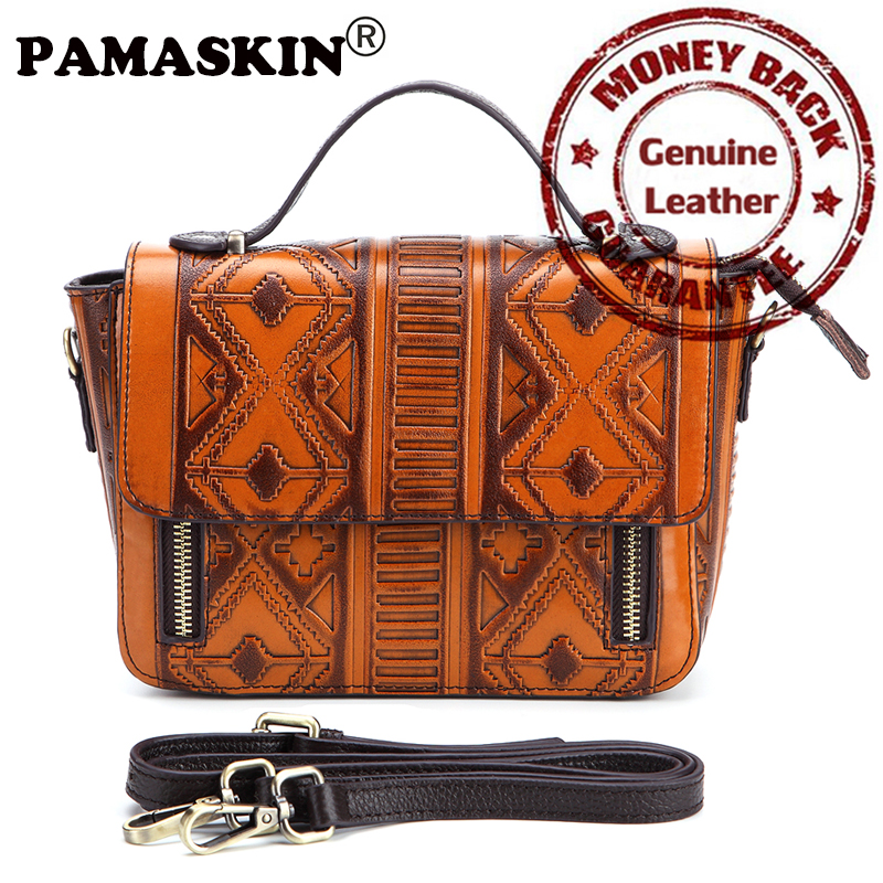 PAMASNKIN Folk-Custom Style Shoulder Bags 2017 Genuine Leather Fashion Embossed Female Flap Brand Designer Women Messenger Bags<br>