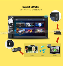 100% New universal Car Radio Double 2 din Car DVD Player without GPS In dash Car PC Stereo Head Unit video