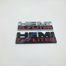 2pcs For Dodge Ram 1500 2500 HEMI 5.7 LITER BLACK / Silver & RED Logo Fender Nameplate Emblem