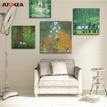 Natural Pastoral Style Klimt Art Green Trees In Rural, Oil painting Prints On Canvas Wall Picture For Living Room Home Decor