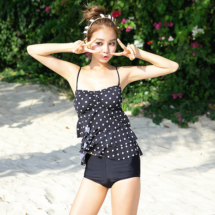 Swimming Suit For Women Push Up Bathing Suit Bikini Cute Girl Cake Layer Wave Bra Boxer Cover Belly Thin Hot Swimsuit<br><br>Aliexpress