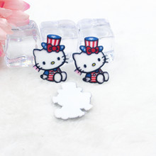 Kawaii cartoon flat back planar resin cute Magic Hello Kitty Figurine Home decoration craft DIY phone  hair accessories